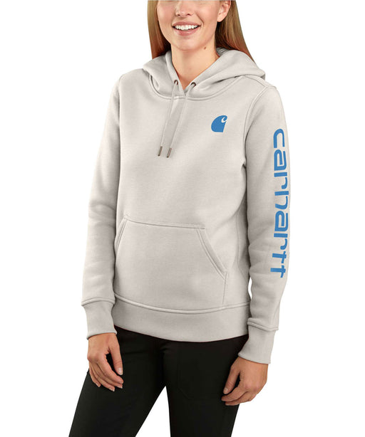 Carhartt Women's Clarksburg Sleeve Logo Hooded Sweatshirt - Malt
