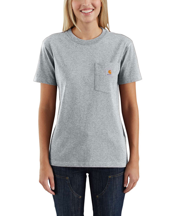 Carhartt Women's WK87 Pocket Short Sleeve T-Shirt in Heather Grey at Dave's New York
