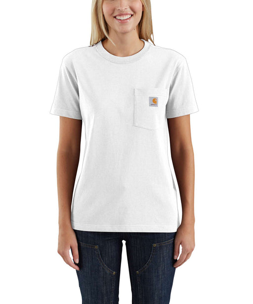 Carhartt Women's WK87 Pocket Short Sleeve T-Shirt in White at Dave's New York