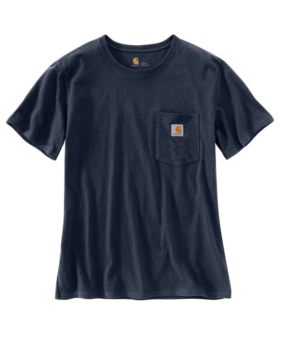Carhartt Women's WK87 Pocket Short Sleeve T-Shirt  in Navy at Dave's New York