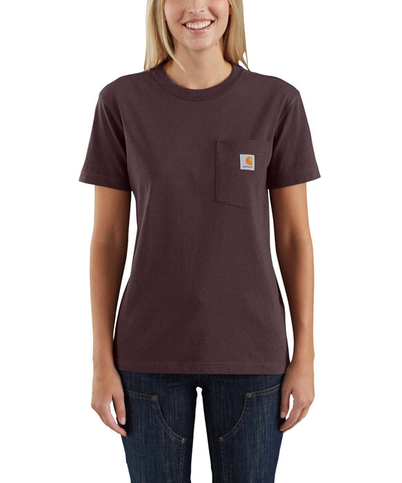 Carhartt Women's WK87 Pocket Short Sleeve T-Shirt in Deep Wine at Dave's New York