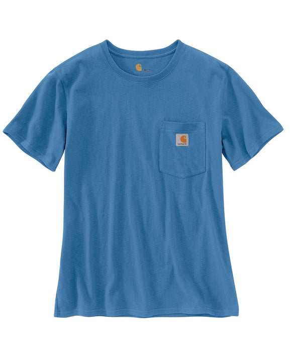 Carhartt Women's WK87 Pocket Short Sleeve T-Shirt in French Blue at Dave's New York