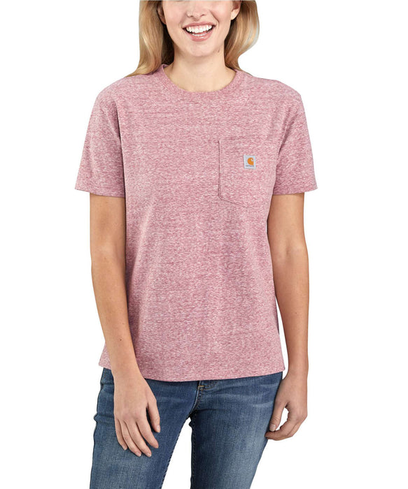 Carhartt Women's WK87 Pocket Short Sleeve T-Shirt in Dark Barn Red Snow Heather at Dave's New York