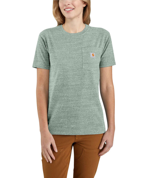 Carhartt Women's WK87 Pocket Short Sleeve T-Shirt - Leaf Green Snow Heather at Dave's New York