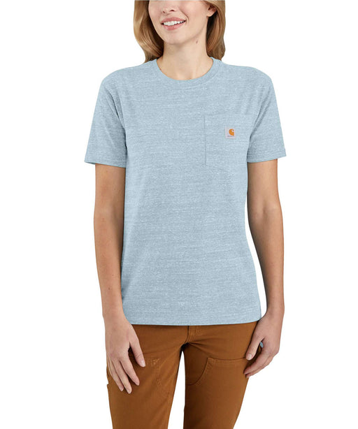 Carhartt Women's WK87 Pocket Short Sleeve T-Shirt - Tourmaline Snow Heather at Dave's New York