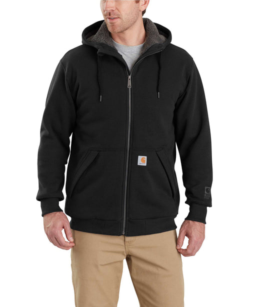 Carhartt 103308 Rain Defender Rockland Sherpa-Lined Full-Zip Hooded Sweatshirt - Black