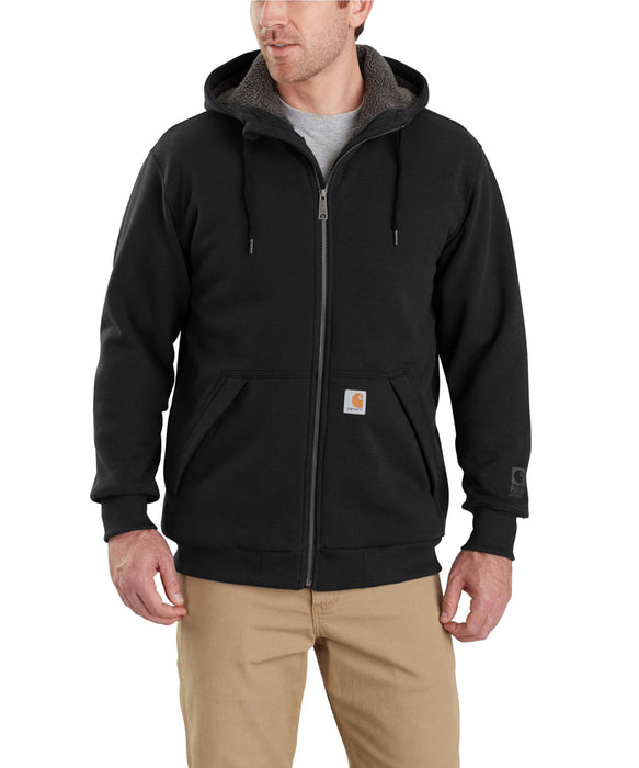 Carhartt 103308 Rain Defender Rockland Sherpa-Lined Full-Zip Hooded Sweatshirt in Black at Dave's New York