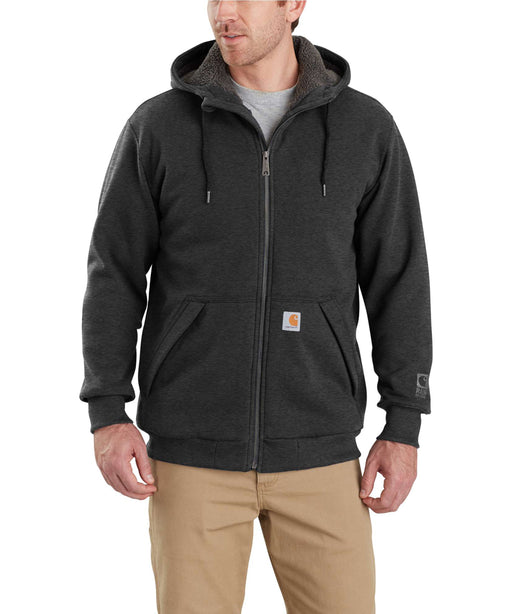 Carhartt 103308 Rain Defender Rockland Sherpa-Lined Full-Zip Hooded Sweatshirt - Carbon Heather