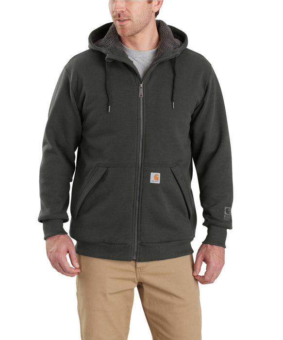 Carhartt 103308 Rain Defender Rockland Sherpa-Lined Full-Zip Hooded Sweatshirt in Peat at Dave's New York