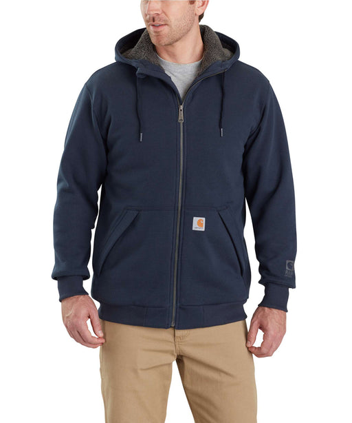 Carhartt 103308 Rain Defender Rockland Sherpa-Lined Full-Zip Hooded Sweatshirt - New Navy