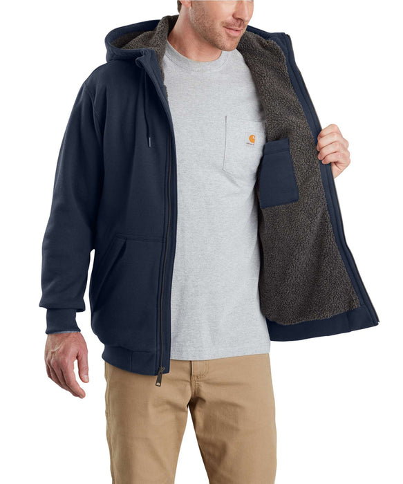 Carhartt 103308 Rain Defender Rockland Sherpa-Lined Full-Zip Hooded Sweatshirt in New Navy at Dave's New York