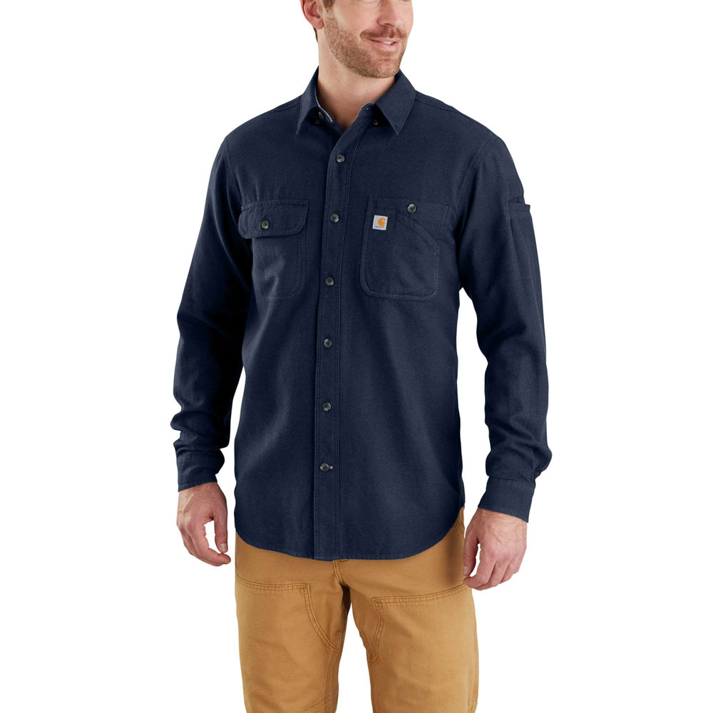 Carhartt 103318 Men's Beartooth Solid Flannel Shirt - Navy Heather
