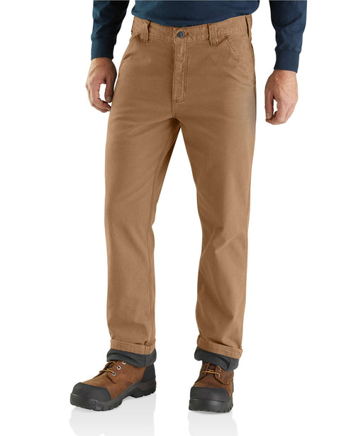 Carhartt Rugged Flex Rigby Dungaree Knit Lined Pant in Dark Khaki at Dave's New York