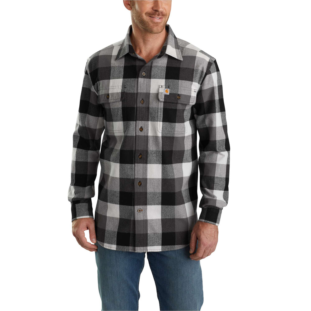 Carhartt 103348 Men's Hubbard Plaid Flannel Shirt - Gravel
