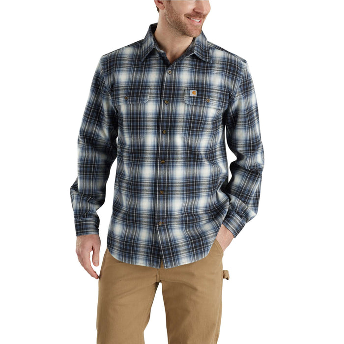 Carhartt 103348 Men's Hubbard Plaid Flannel Shirt  - Dark Blue