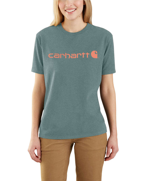 Carhartt Women's Short Sleeve Logo T-Shirt - Fog Green Heather at Dave's New York