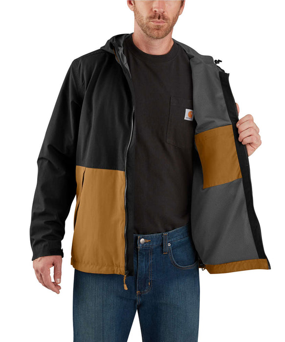 Carhartt Men's Storm Defender Hooded Jacket in Black/Carhartt Brown at Dave's New York