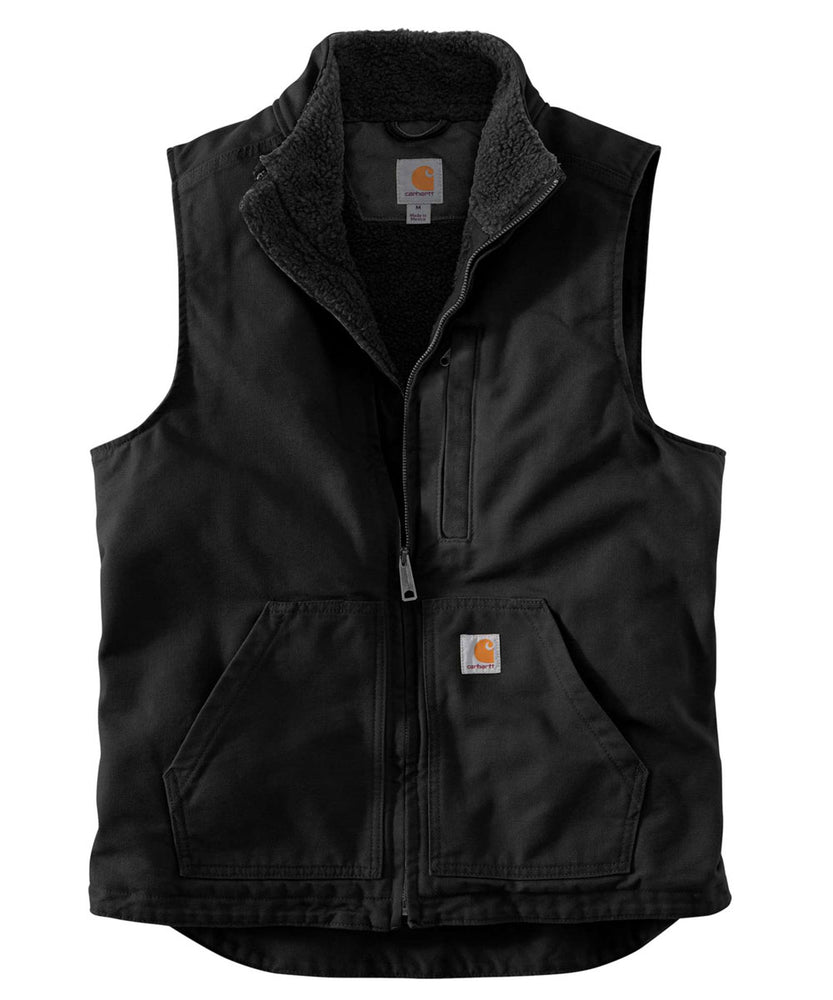 Carhartt Washed Duck Sherpa-Lined Mock Neck Vest - Black at Dave's New York