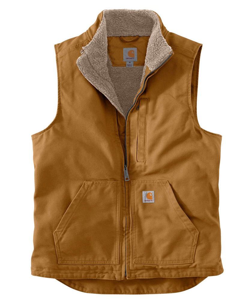 Carhartt Washed Duck Sherpa-Lined Mock Neck Vest in Carhartt Brown at Dave's New York