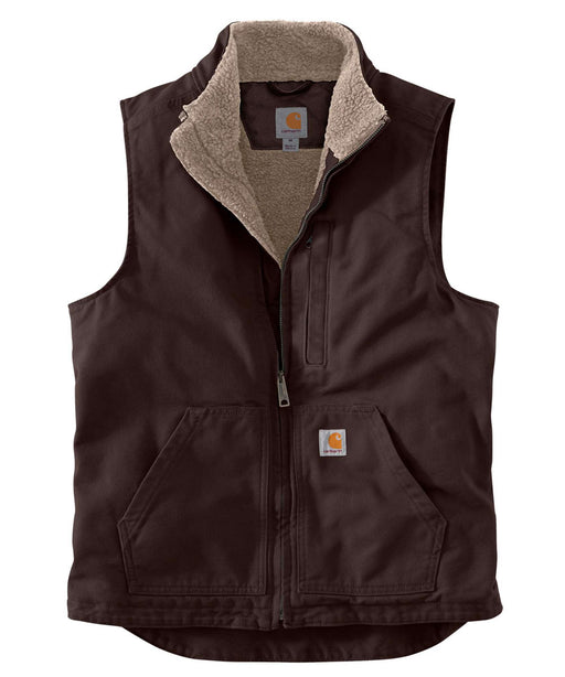 Carhartt Washed Duck Sherpa-Lined Mock Neck Vest - Dark Brown at Dave's New York