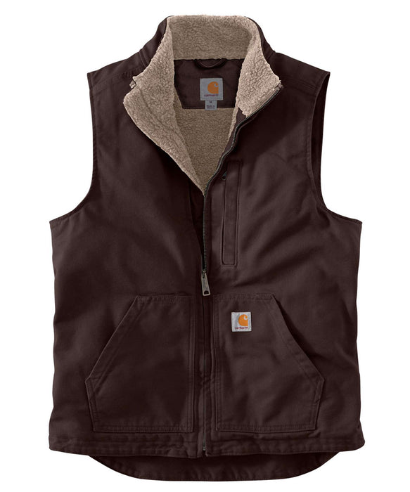 Carhartt Washed Duck Sherpa-Lined Mock Neck Vest in Dark Brown at Dave's New York