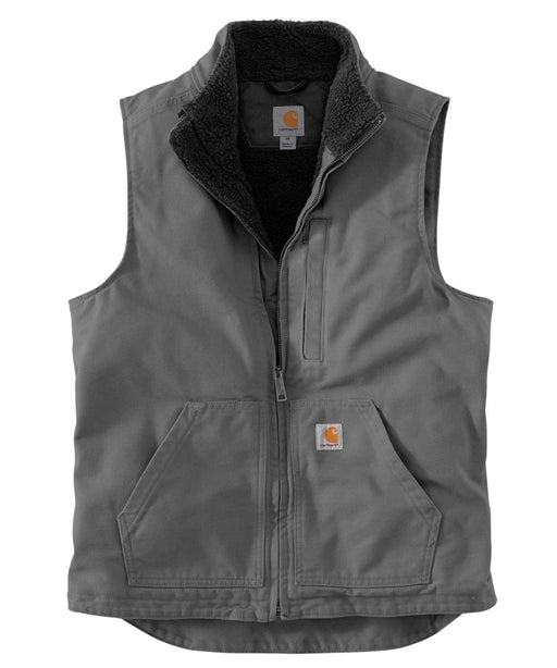 Carhartt Washed Duck Sherpa-Lined Mock Neck Vest in Gravel at Dave's New York