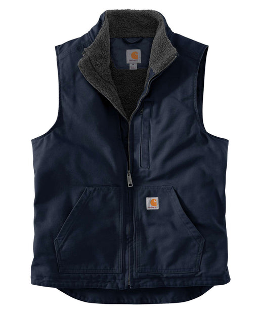 Carhartt Washed Duck Sherpa-Lined Mock Neck Vest in Navy at Dave's New York