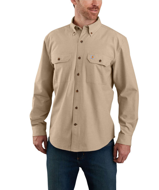 Carhartt Original Fit Long Sleeve Chambray Shirt in Dark Tan Chambray at Dave's New York