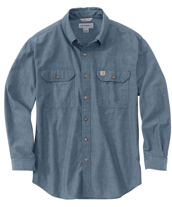 Carhartt Original Fit Long Sleeve Chambray Shirt - Denim Blue Chambray