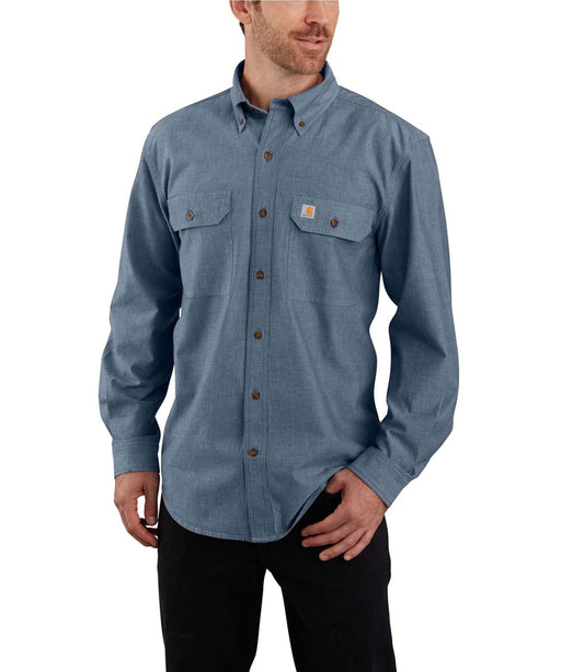 Carhartt Original Fit Long Sleeve Chambray Shirt in Denim Blue Chambray at Dave's New York