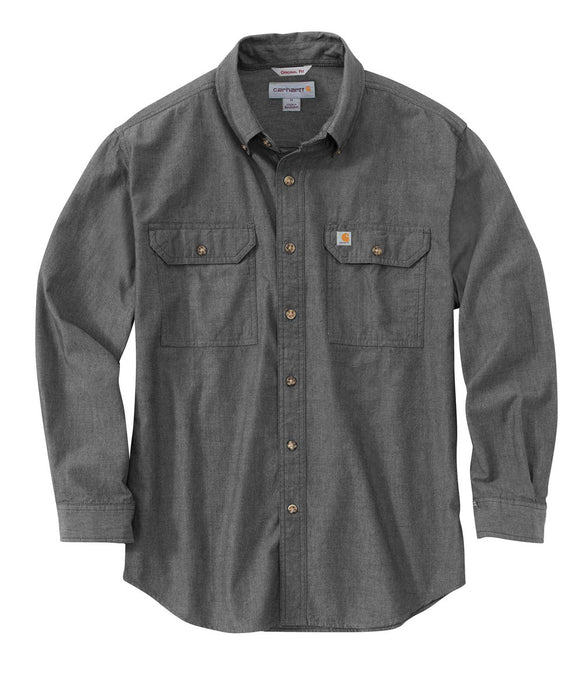 Carhartt Original Fit Long Sleeve Chambray Shirt in Black Chambray at Dave's New York