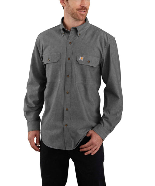 Carhartt Original Fit Long Sleeve Chambray Shirt - Black Chambray