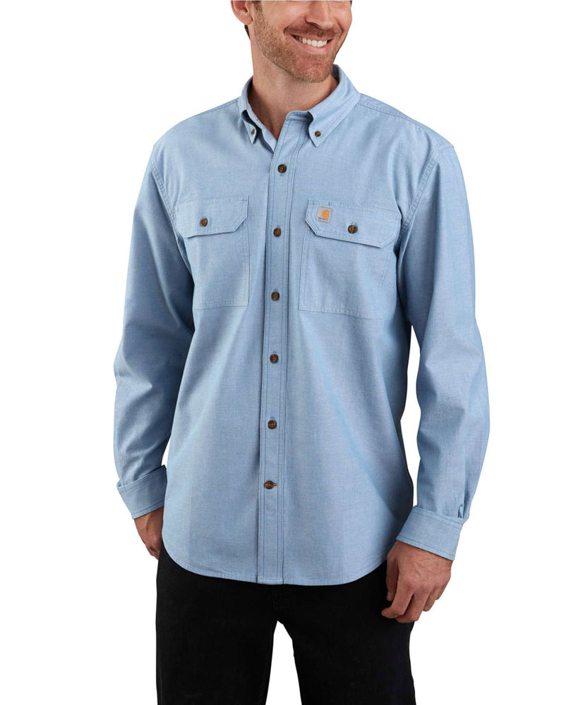 Carhartt Original Fit Long Sleeve Chambray Shirt in Blue Chambray at Dave's New York