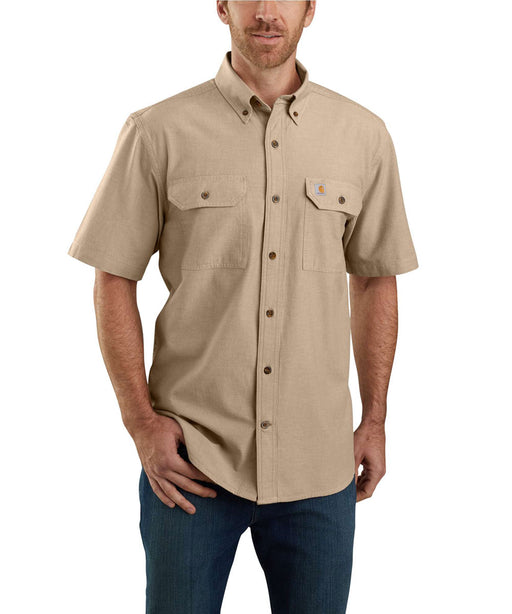 Carhartt Original Fit Short Sleeve Chambray Shirt in Dark Tan Chambray at Dave's New York