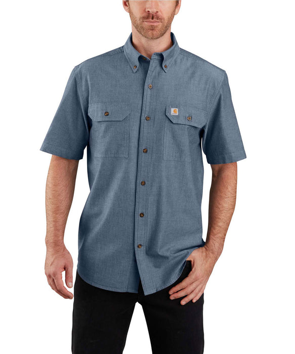 Carhartt Original Fit Short Sleeve Chambray Shirt in Denim Blue Chambray at Dave's New York