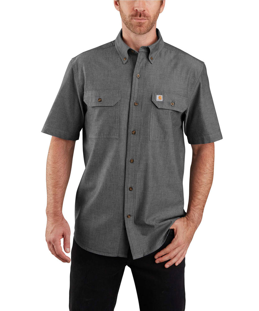 Carhartt Original Fit Short Sleeve Chambray Shirt in Black Chambray at Dave's New York