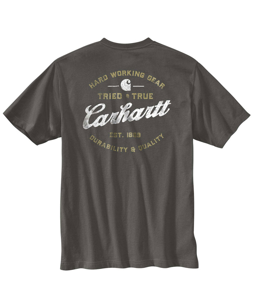 Carhartt Relaxed Fit Heavyweight Short-Sleeve Pocket Tried and True Logo Tee - Peat at Dave's New York