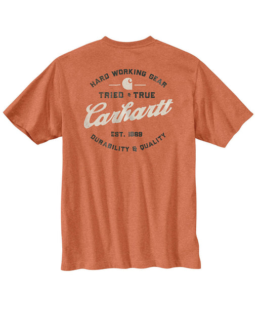 "Carhartt Heavyweight Short-Sleeve ""Tried and True"" Logo Pocket Tee - Ginger Heather at Dave's New York"