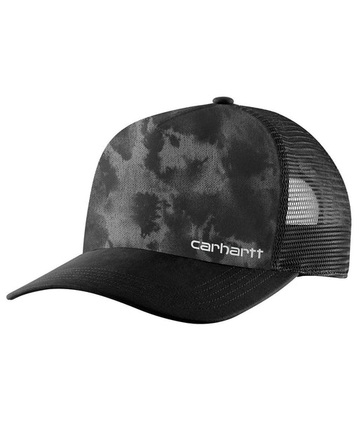 Carhartt Mesh-Back Camo Trucker Cap - Black Fatigue Camo at Dave's New York