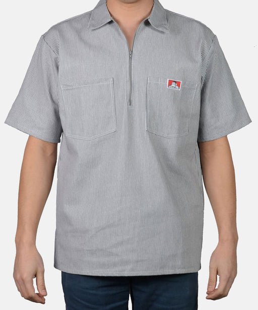 Ben Davis Short Sleeve Half-Zip Work Shirt in Hickory Stripe at Dave's New York