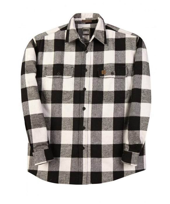 Big Bill Men's Premium Flannel Work Shirt - Black, White