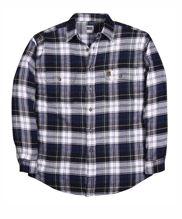 Big Bil Men's Premium Flannel Work Shirt in Blue / Green Plaid at Dave's New York