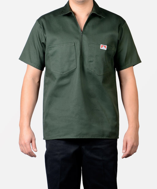 Ben Davis Short Sleeve Half-Zip Work Shirt - Olive Green
