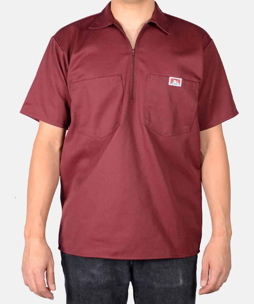 Ben Davis Short Sleeve Half-Zip Workshirt in Burgundy at Dave's New York