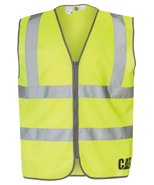 CAT ANSI Class 2 Hi-Vis Zip Safety Vest - Bright Yellow