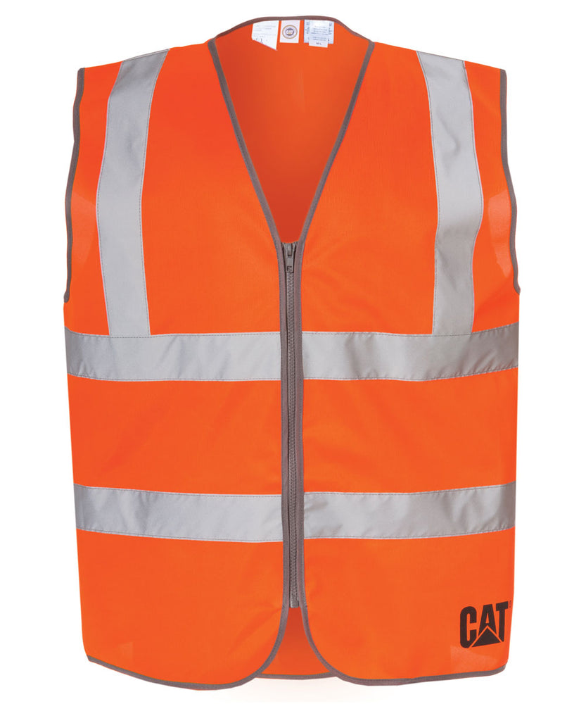CAT ANSI Class 2 Hi-Vis Zip Safety Vest - Bright Orange