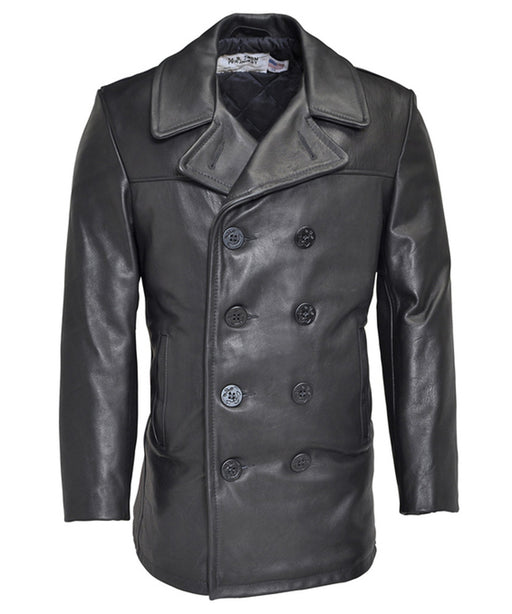 Schott 140 Classic Leather Pea Coat in Black at Dave's New York