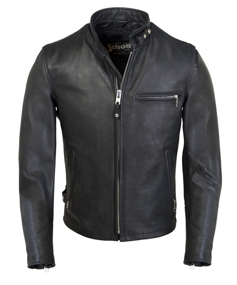 Schott 141 Classic Café Racer Leather Moto Jacket at Dave's New York