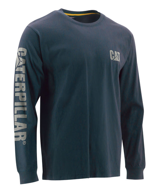 CAT Trademark Banner Long Sleeve Tee - Dark Marine Blue