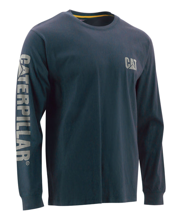 CAT Trademark Banner Long Sleeve T-shirt in Dark Marine Blue at Dave's New York